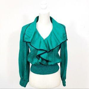 Vintage 80's Neiman Marcus Ruffled Silk Blouse 6
